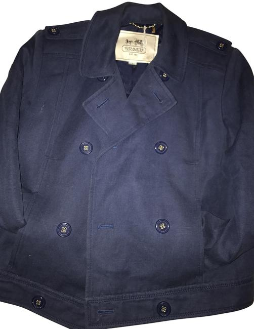 Item - Navy Blue Women's Classic Cotton Double-breasted Large Jacket Size 14 (L)