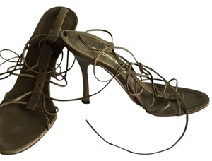 Manolo Blahnik Olive lace up ankle tie Sandals