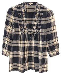 Joie Top Blue and white plaid