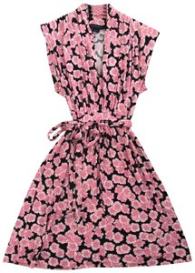 French Connection short dress Pink and Black A-line Ballerina V-neck Belted on Tradesy