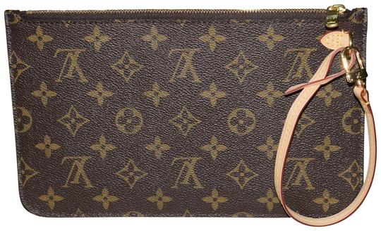 Louis Vuitton Neverfull Pochette Mm Gm In Interior Monogram With Beige Textile Lining Coated