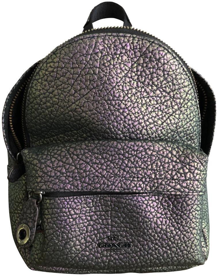 56916fe975 Coach Campus Hologram Mini Iridescent Purple Leather Backpack - Tradesy