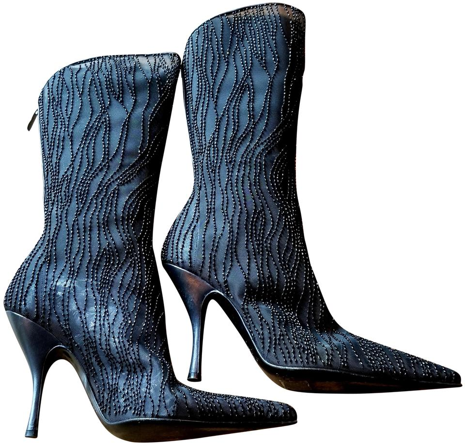 LADY Sergio Rossi Black Beaded durable Boots/Booties Attractive and durable Beaded 803a82