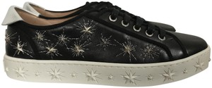 Aquazzura Leather Star Embroidered Black Athletic