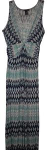 Multi-Color Maxi Dress by Design History V-neck Ties In Back Stretch