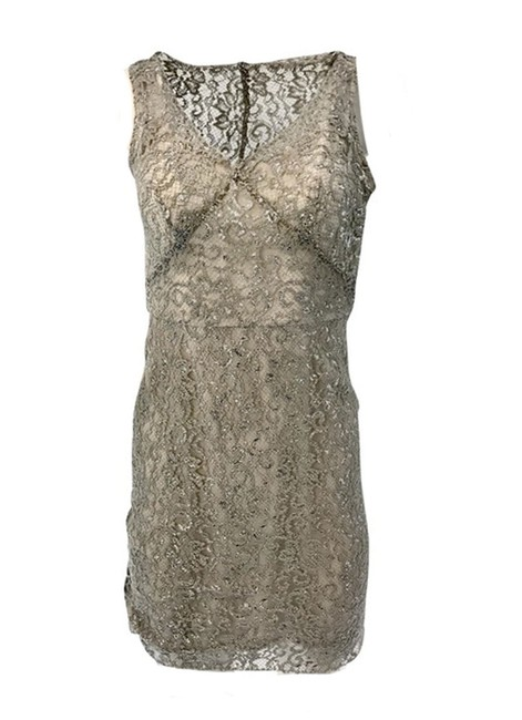 Item - Silver And Champagne Lace Short Cocktail Dress Size Petite 2 (XS)