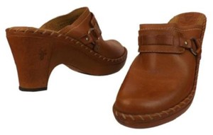 Frye Leather Stitched Horsebit Charlotte 2 Brown Mules