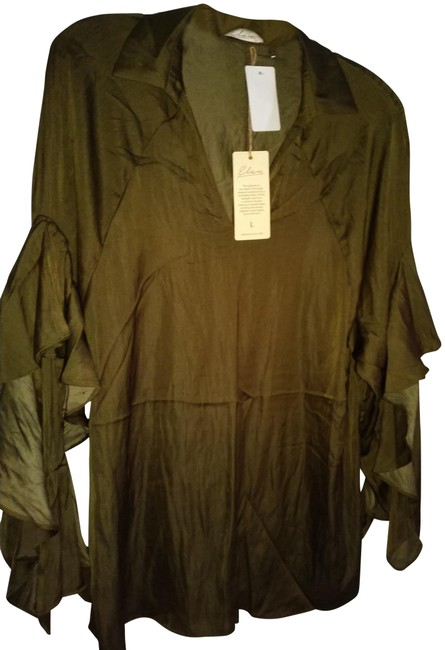 Item - Brown L Oversized Ruffled Sleeve Blouse Size 14 (L)