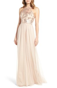Amsale Fawn Polyester with Nylon Contrast Sheridan Sequin Halter Formal Bridesmaid/Mob Dress Size 4 (S)
