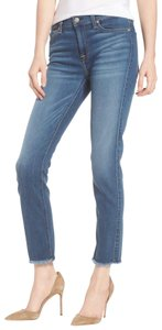 7 For All Mankind Stretchy Highrise Straight Leg Jeans-Medium Wash
