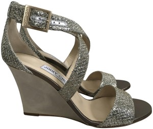 Jimmy Choo Strappy Sandals Glitter Champagne Gold Wedges