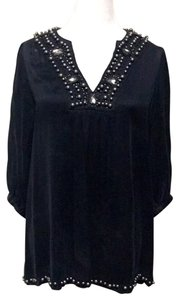 Urban Outfitters Silk Beaded Top Black