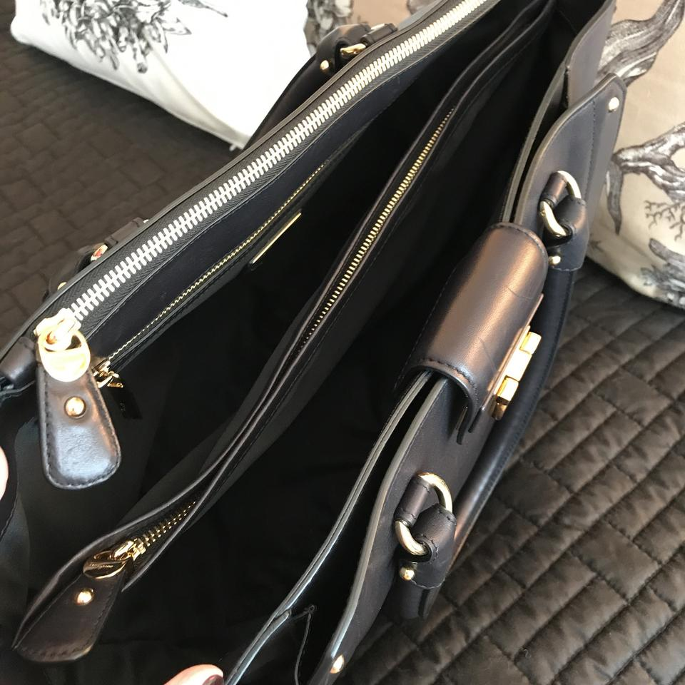 with Leather Hardware Tote Smooth Luisa Black Salvatore Gold Ferragamo twTaaFq