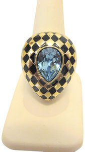 "Heidi Daus Heidi Daus Aqua ""Check Mate"" Crystal and Enamel Ring 9"