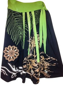 Basil & Maude Cotton Applique Embellished Summer Skirt Black and Green and Brown Multi