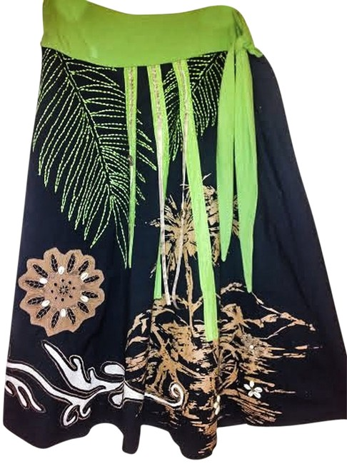 Item - Black and Green and Brown Multi Cotton Applique Embellished Summer Skirt Size 12 (L, 32, 33)
