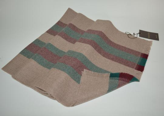 Gucci NEW GUCCI 100% WOOL STRIPE SCARF WRAP MUFFLER MADE IN ITALY Image 2