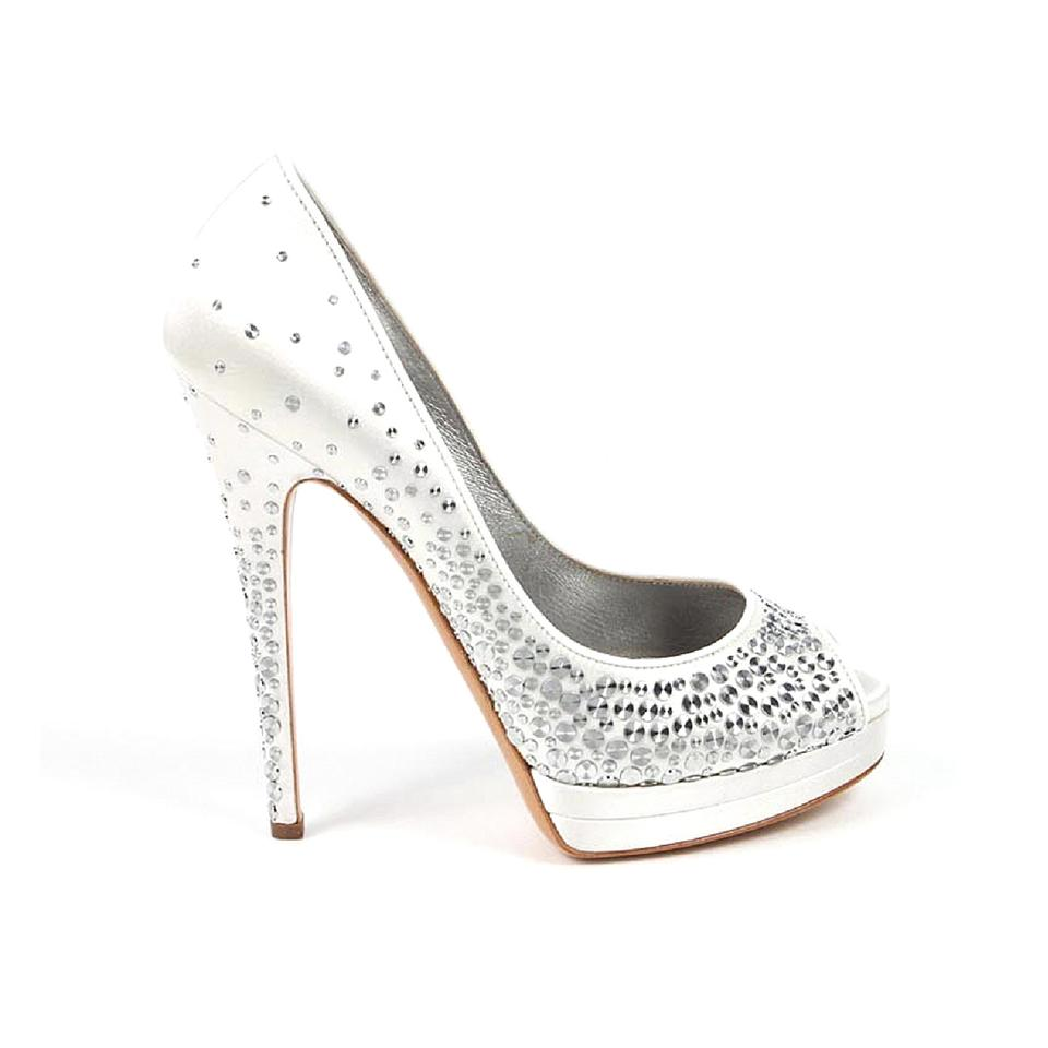 99fd3a221 Casadei White Platform Heels with Silver Embellishments Pumps Size ...
