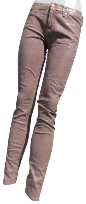 Item - Brown Distressed Mauve Snake Print Skinny Jeans Size 24 (0, XS)