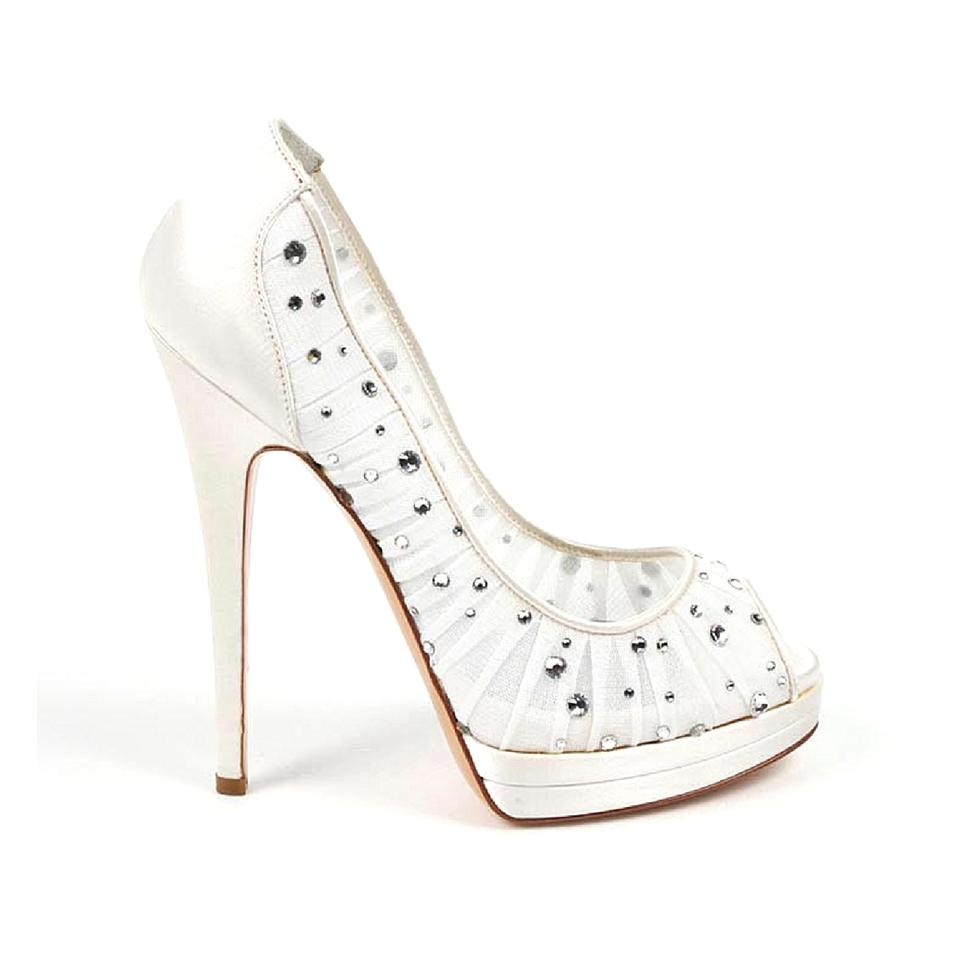 7cd46d242 Casadei Leather Embellished Bridal Italian Pleated White Pumps ...