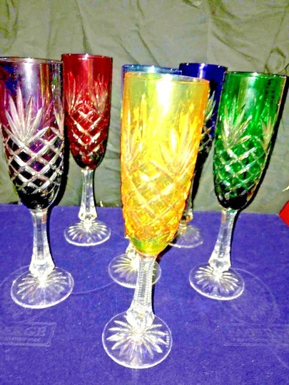 Multi-colored 6 Faberge Crystal Odessa W/ Box Vintage Champagne Flutes Glasses