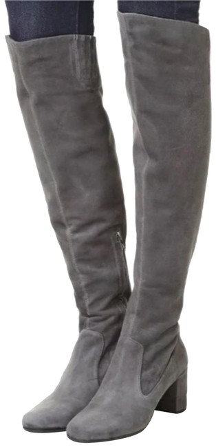 Item - Pewter Gray Suede Leather Block-heel Over The Knee Boots/Booties Size US 7 Regular (M, B)
