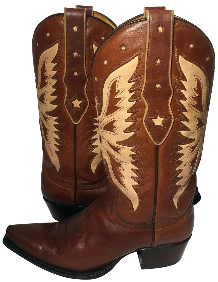 05dda1ec4a5 Brown Beige Leather Western Cowgirl Women 40 Boots/Booties Size US 9  Regular (M, B) 53% off retail