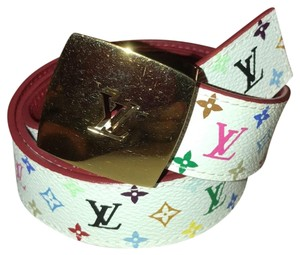 Louis Vuitton Multi color reversible white / red LV belt