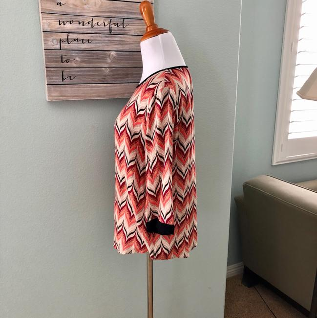 Ella Moss Top coral orange black ivory