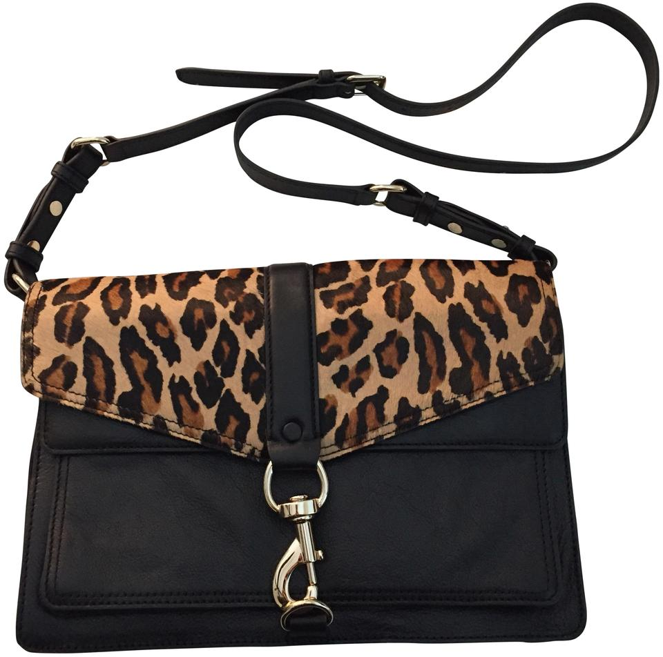 best choice attractive price best loved Rebecca Minkoff Hudson Print Moto Black/ Leopard Hair Leather Shoulder Bag