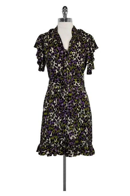 Preload https://img-static.tradesy.com/item/22993082/milly-multicolor-purple-white-and-green-animal-print-short-casual-dress-size-2-xs-0-0-650-650.jpg