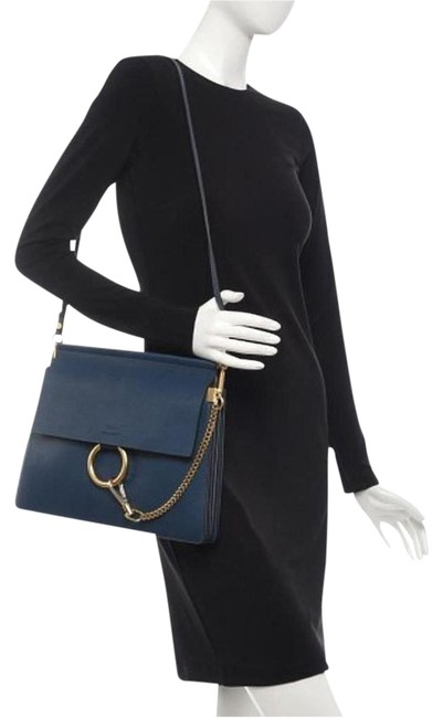 Chloé Faye Medium Blue Grained Leather Shoulder Bag Chloé Faye Medium Blue Grained Leather Shoulder Bag Image 1