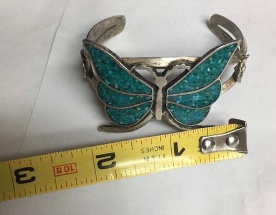 Zuni Zuni Native Sterling Butterfly Floral Turquoise Cuff Flower Bracelet