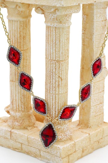 Ocean Fashion Fashion rhombus red crystal golden necklace