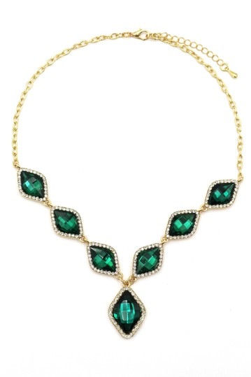 Ocean Fashion Fashion rhombus green crystal golden necklace