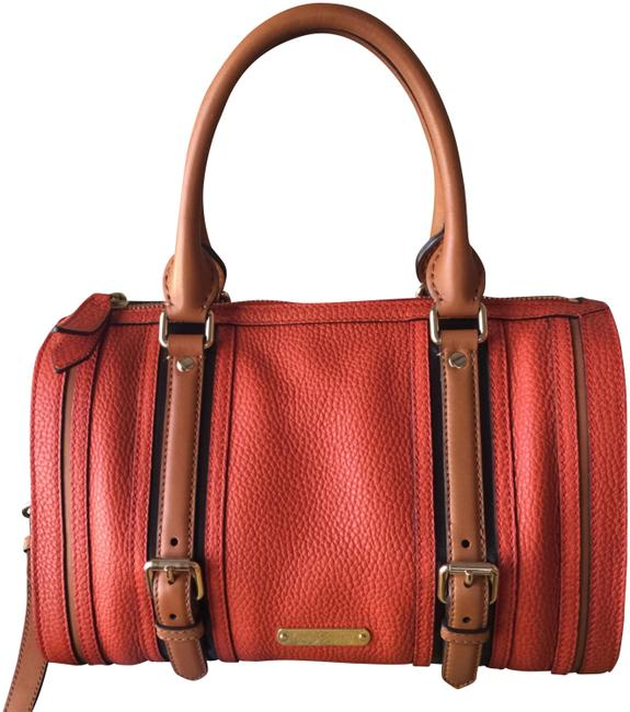 Burberry Convertible Buckle Boston Orange Leather Satchel Burberry Convertible Buckle Boston Orange Leather Satchel Image 1