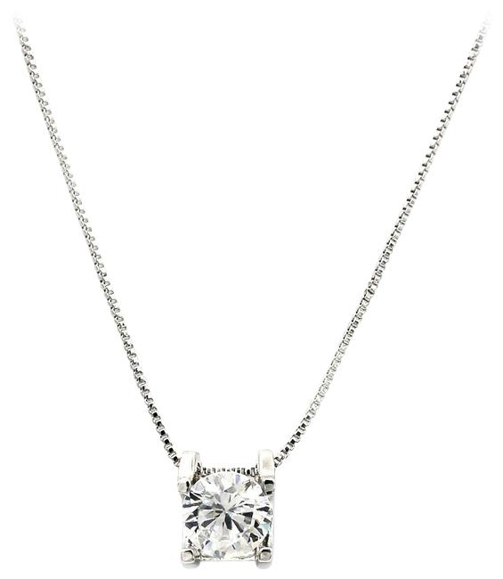 Ocean Fashion Silver Single Crystal Necklace Ocean Fashion Silver Single Crystal Necklace Image 1