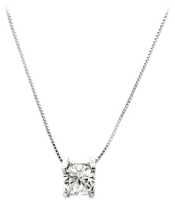 Ocean Fashion Silver Sterling Single Crystal Necklace Ocean Fashion Silver Sterling Single Crystal Necklace Image 1