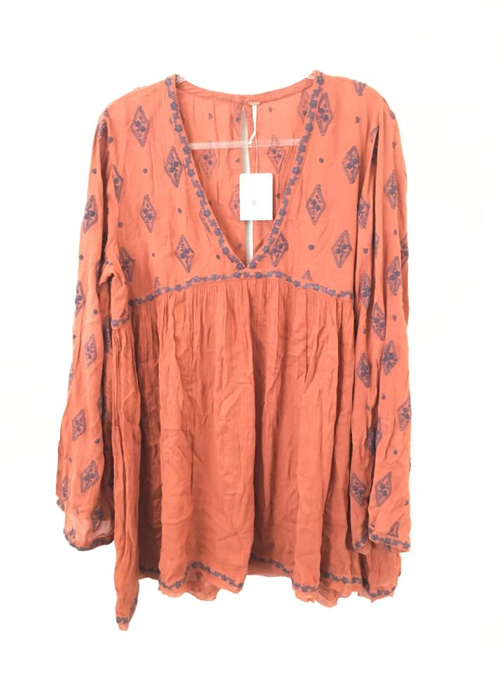 3457b5aa809 Free People Cinnamon Diamond Floral Embroidered Crinkle Tunic Size ...