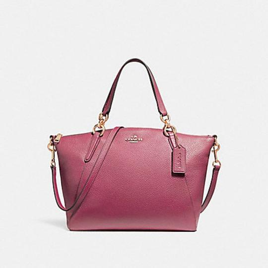 Coach Kelsey Pebbled Leather Crossbody Satchel in pink