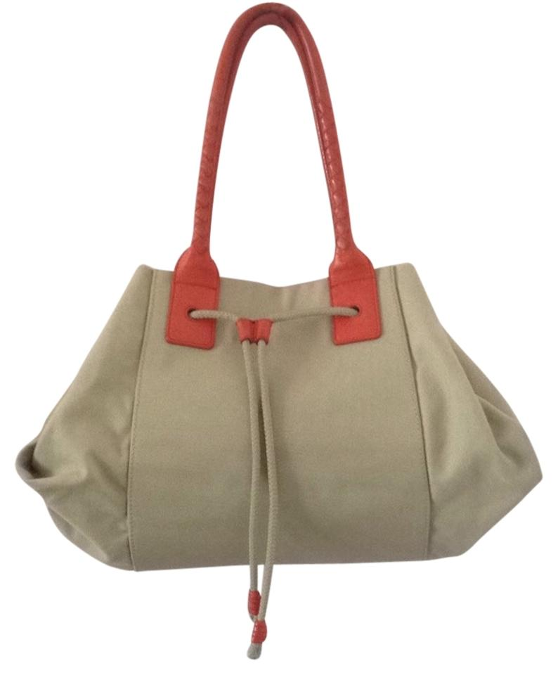 Bottega Veneta Canvas Carryall Khaki & Orange Beach Bag on Sale ...