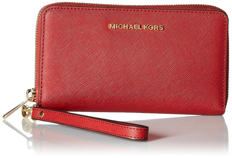 26b24cb101a9 Michael Kors Michael Kors Jet Set Travel Large Flat Multifunction Bright Red  Wallet Image 4. 12345
