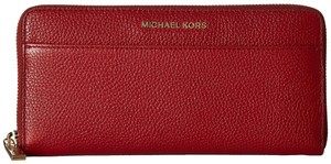 Michael Kors Michael Kors Mercer Pocket Zip Burnt Red Leather Continental Wallet