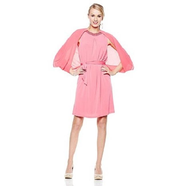 Item - Rose Sexy with Chiffon Cape Mid-length Cocktail Dress Size 20 (Plus 1x)