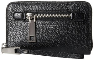 Marc Jacobs Gotham Leather Zip Phone Wingman Wallet Clutch Leather Purse Wristlet in Black