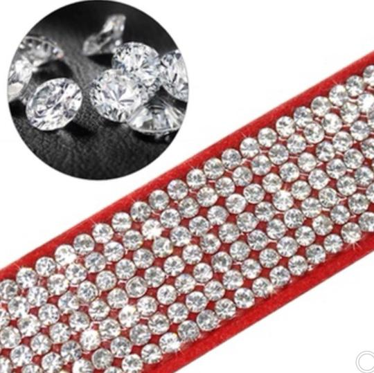 Queenesthershop Suede Rhinestone Dog Collar Sparkly Crystal Bow Tie Dogs Cat Collars Bowknot Diamonds Collars for Small Medium Pets Kitten Puppy
