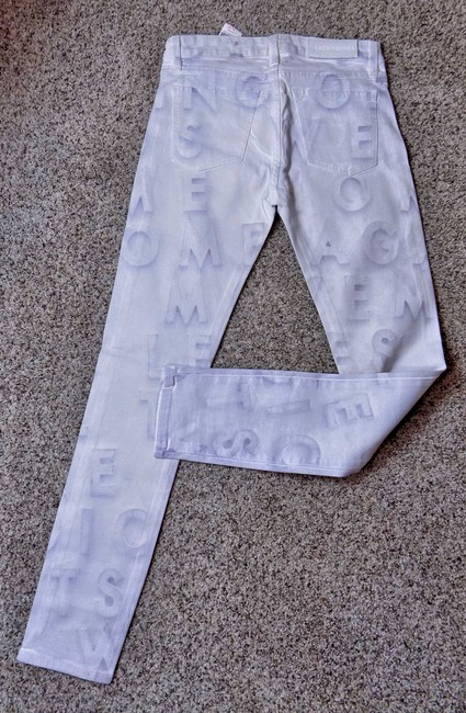 Each x Other Printed Denim Skinny Jeans-Light Wash