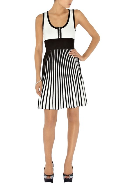 Karen Millen short dress Black/White Knit Pleated Sleeveless on Tradesy