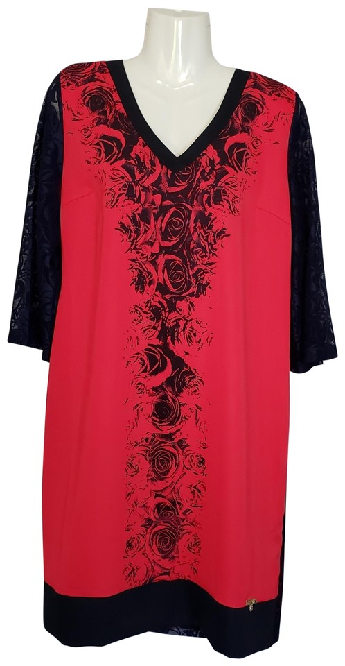 7344c914eabe Red/Navy 3/4 Lace Sleeve 2xl Short Work/Office Dress Size 24 (Plus ...