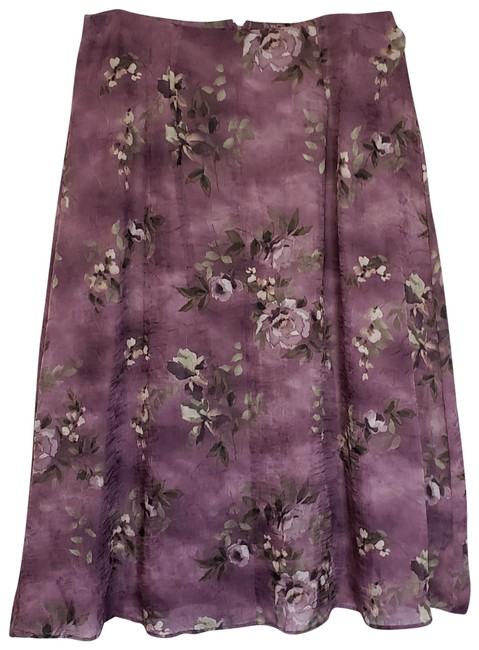 Dress Barn Sheer Lined Skirt Purple/Green